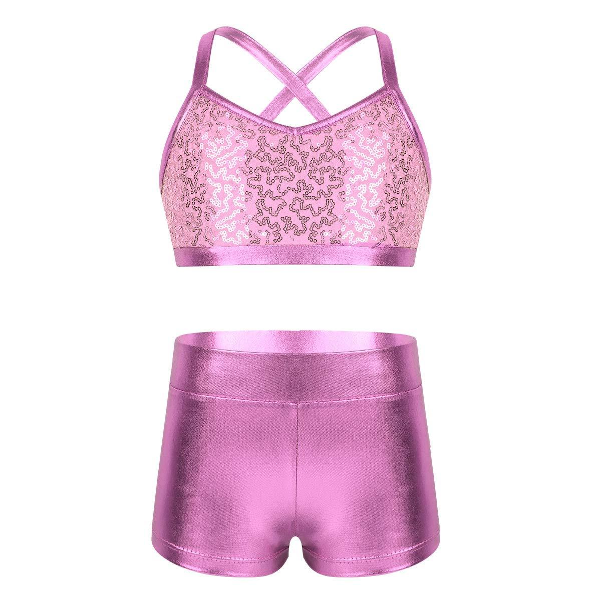MSemis Kids Girls Shiny Sequins Metallic Ballet Gymnastics Leotard Dance Outfits Crisscross Back Crop Top with Shorts