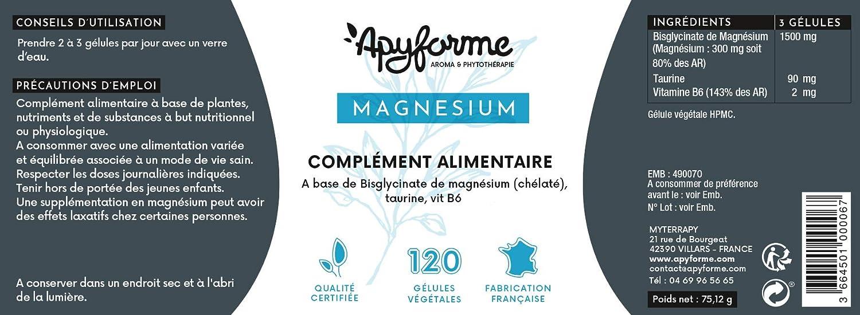 Apyforme - Magnesio - Magnesio vegetal - Bisglicinato de magnesio 1500 mg + vitamina B6 - Antiestrés natural - 120 cápsulas vegetales sin gluten, ...