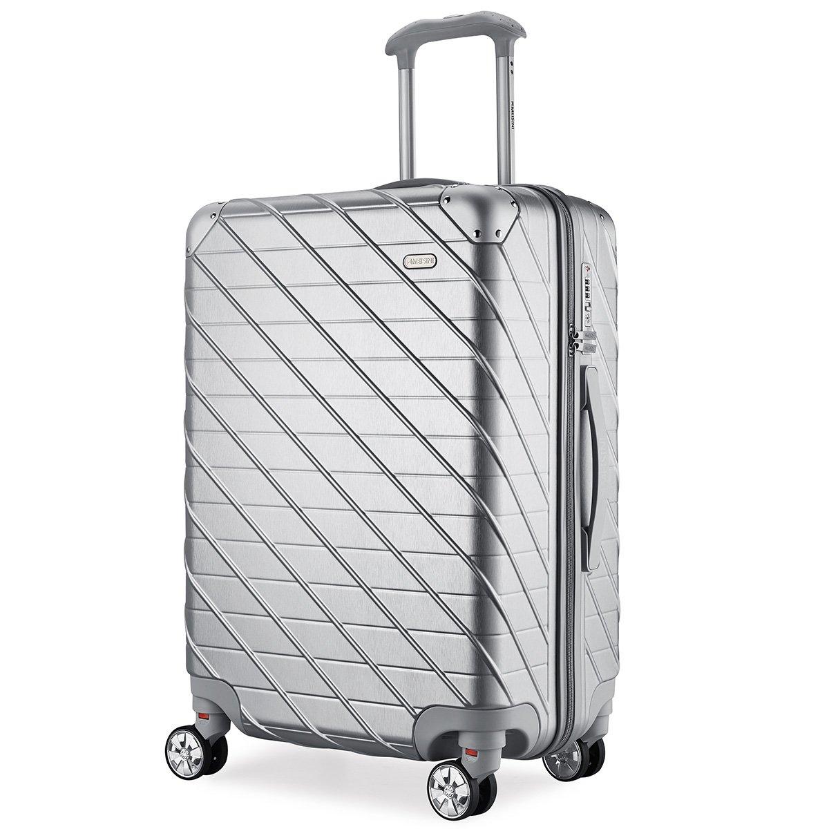 MEISINI スーツケース 旅行バッグ キャリーバッグ キャリーケース TSAロック 機内持込 軽量 ABS+PC 静音 ファスナーレス 8輪キャスター 出張【一年保証】 B07DJ34SH7 Mサイズ( 4~7泊用·62L)|シルバー シルバー Mサイズ( 4~7泊用·62L)