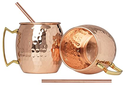 Hammered Moscow Mule Copper Mugs set 18-Ounce (Pack of 4) 4 Straw