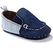 Lurryly Toddler Boys Girls Cotton Shoes,Soft Sole Leather Infant Canvas Shoes 0-18 M (Size:11, Age:0~6M, US:2.5, Blue)