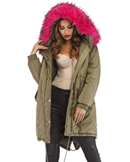 09cd9ef4aab Roiii Women Casual Winter Warm Thicken Down Faux Fur Coat Outdoor Hood  Parka Long Jacket Plus