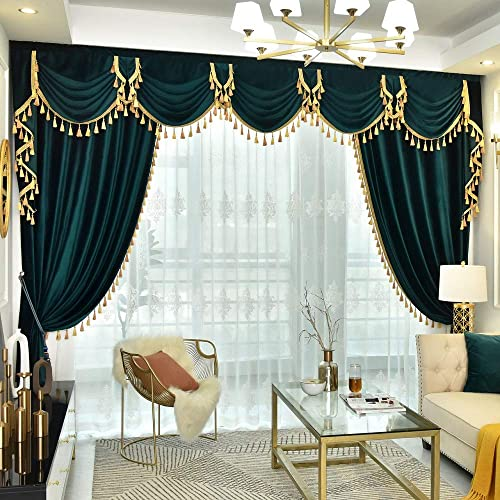 Queen s House Tassel Valance Curtains Waterfall Swag Velvet Peacock Green Window Drapes Panels 110 108 -D