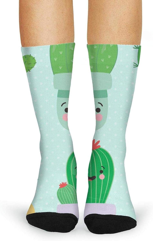 XIdan-die Womens Over-the-Calf Tube Socks Cute Cartoon Cactus Moisture Wicking Casual Socks