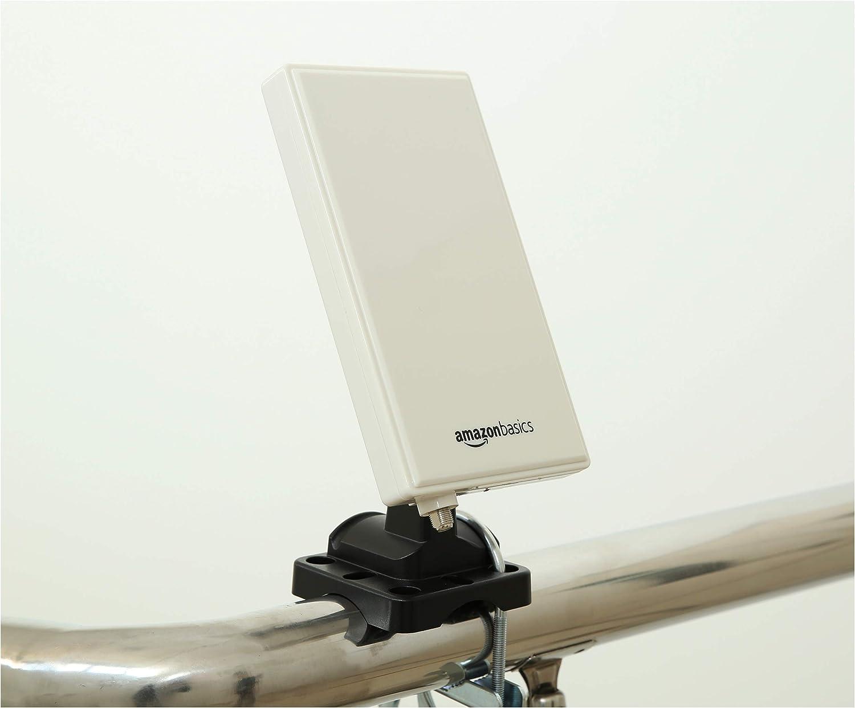 Amazon Basics - Antena de radio y televisión digital interior-exterior para HDTV, receptor DVB-T, VHF, UHF y FM, con un alcance de 48 km