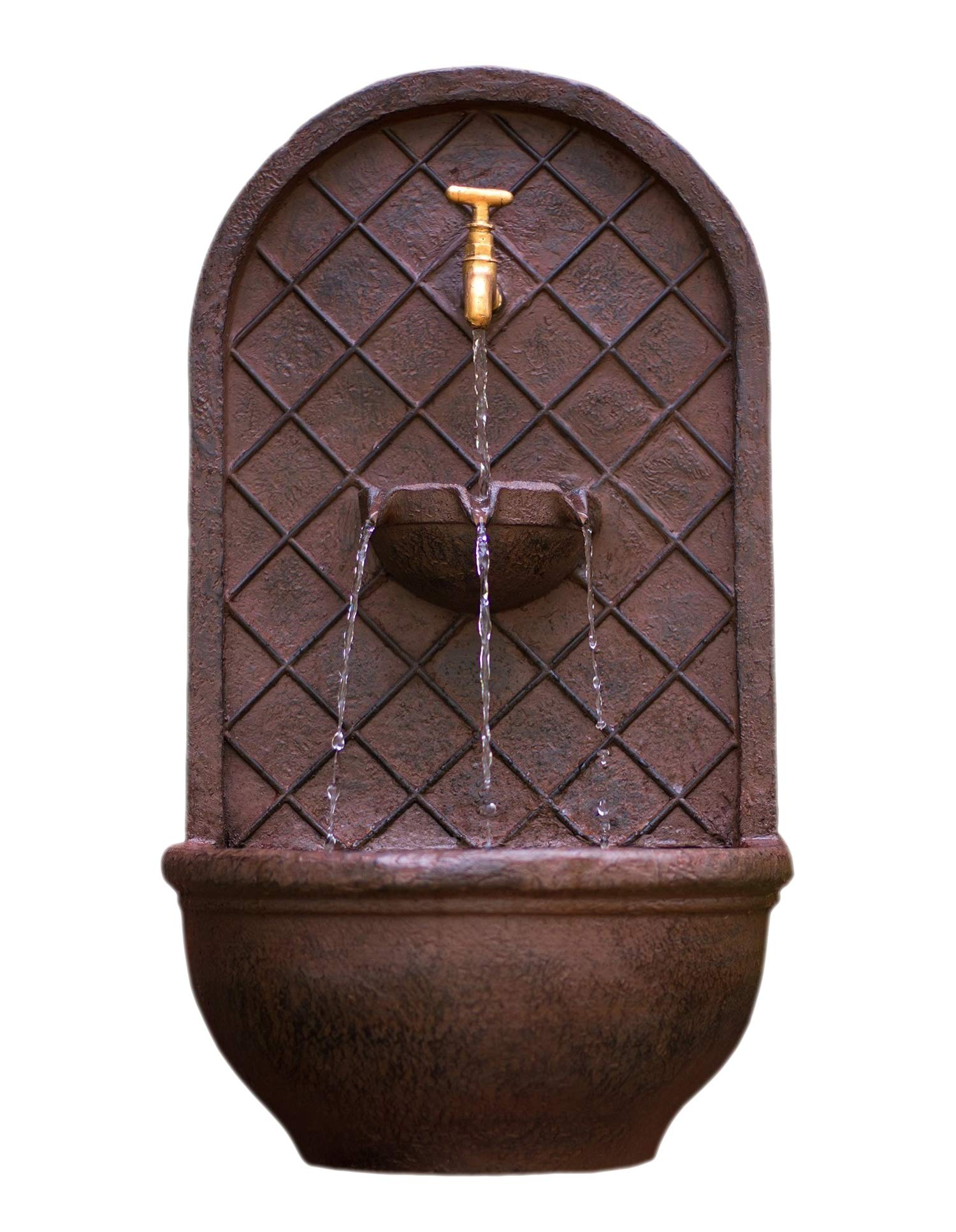 The Milano - Outdoor Wall Fountain - Weathered Bronze Finish - Water Feature for Garden, Patio and Landscape Enhancement