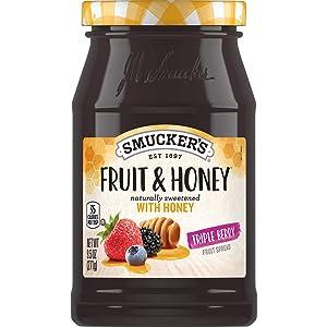 Smucker's Fruit & Honey Triple Berry Fruit Spread, 9.5 Ounces (8 Count)
