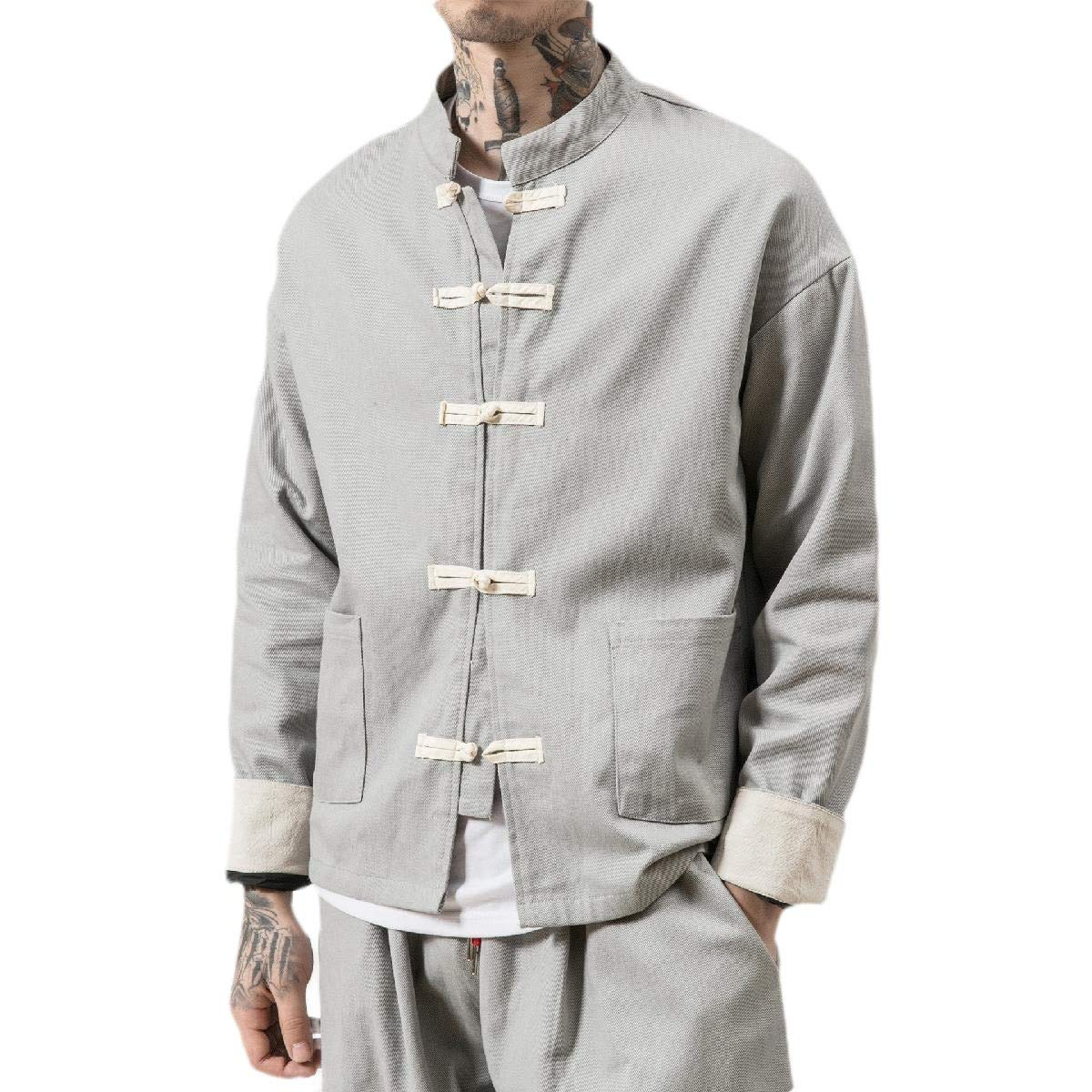 Coolhere Men Linen Loose Fit Mandarin Collar Chinese Oversized Cardigan Jacket