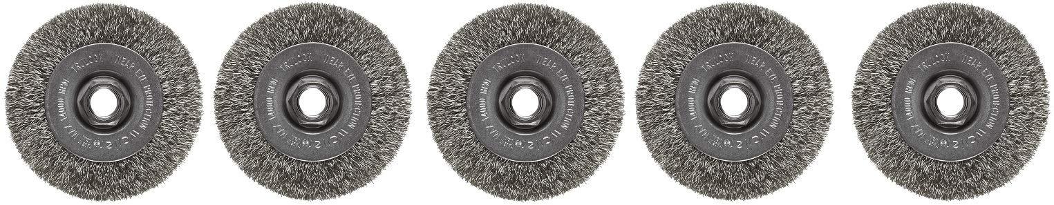 Weiler Trulock Narrow Face Wire Wheel Brush, Threaded Hole, Stainless Steel 302, Crimped Wire, 4'' Diameter, 0.014'' Wire Diameter, 5/8-11'' Arbor, 7/8'' Bristle Length, 1/2'' Brush Face Width, (5-(Pack))