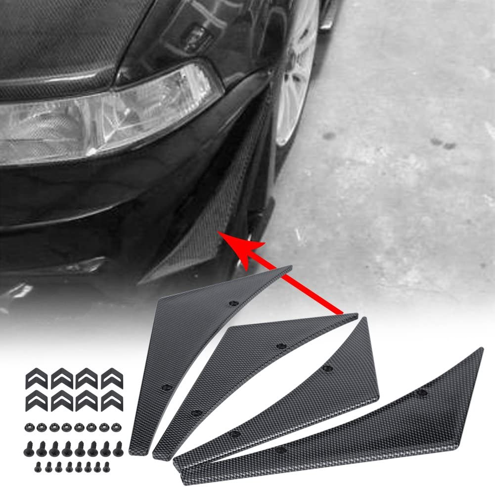 Qiilu 4pcs Car Front Bumper Lip ABS Splitter Fins Canards Body Spoiler Universal Both Protection and Racing Styling Black
