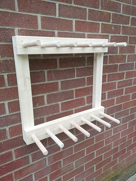 Wooden Wall Mounted Welly Rack Wellington//Riding Boot//Tool Rack 3-6 Pairs