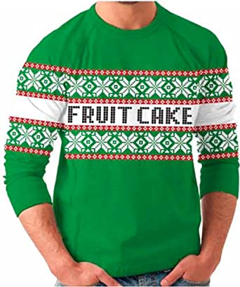 8c4f37b9a189 Fruit Cake Snow Flake Holiday Print Tacky Adult Green Ugly Christmas Sweater