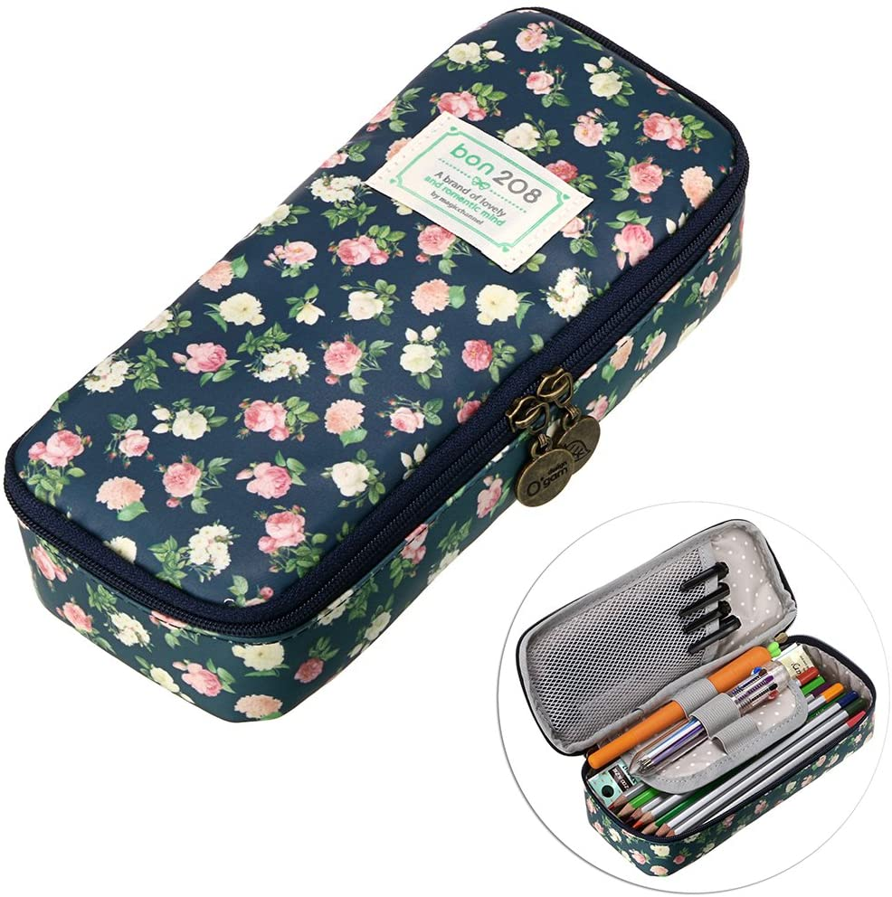 Amazon Com Btsky Cute Pencil Case High Capacity Floral Pencil Pouch Stationery Organizer Multifunction Cosmetic Makeup Bag Perfect Holder For Pencils And Pens Dark Blue Home Improvement