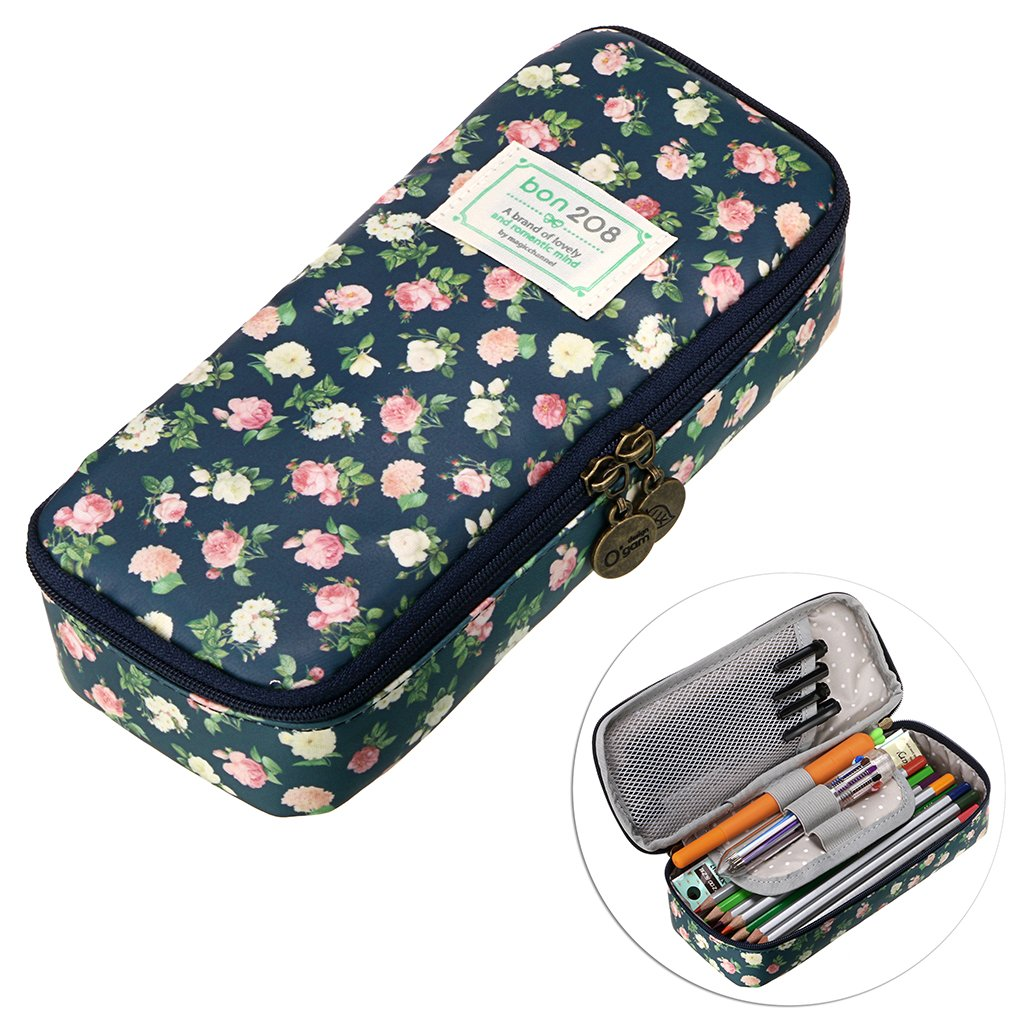 BTSKY Cute Pencil Case - High Capacity Floral Pencil Pouch Stationery Organizer Multifunction Cosmetic Makeup Bag, Perfect Holder for Pencils and Pens (Cyan)