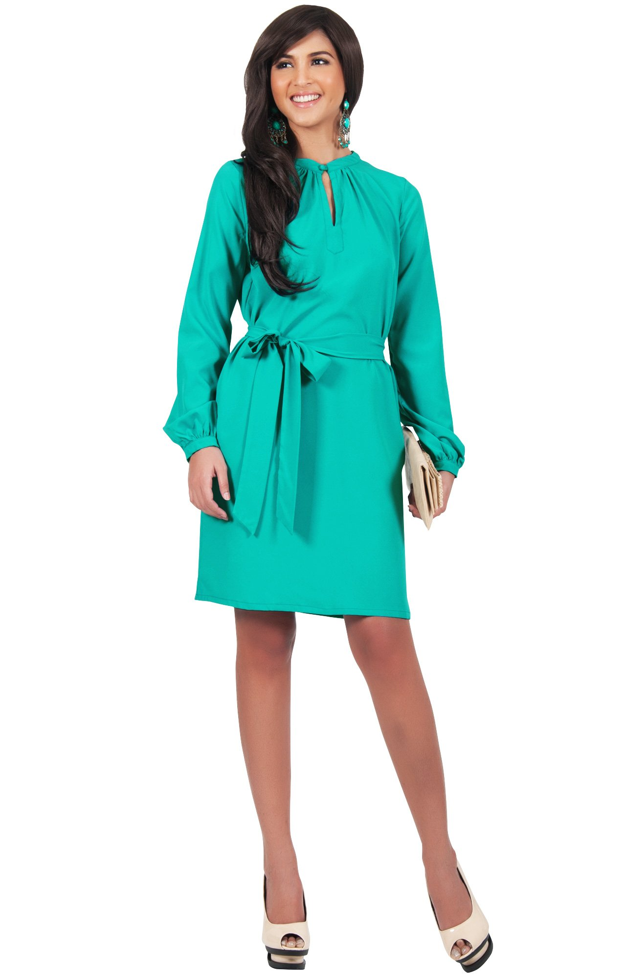KOH KOH Plus Size Womens Long Sleeve with Sleeves Formal Work Office Casual Versatile Evening Day Fall Travel Party Wedding Guest Short Knee Length Midi Dress Dresses, Turquoise 3 X 22-24 (3)