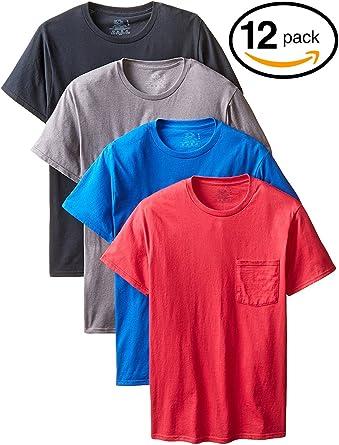 Fruit of the Loom Mens Pocket Crew Neck T-Shirt Pack Of 4