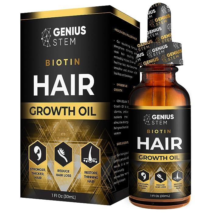 GENIUS Hair Growth Oil, Biotin Hair Growth Serum, for Stronger, Thicker, Longer Hair, Hair Growth Treatment for Women Men With Thinning Hair Loss Serum 1fl oz