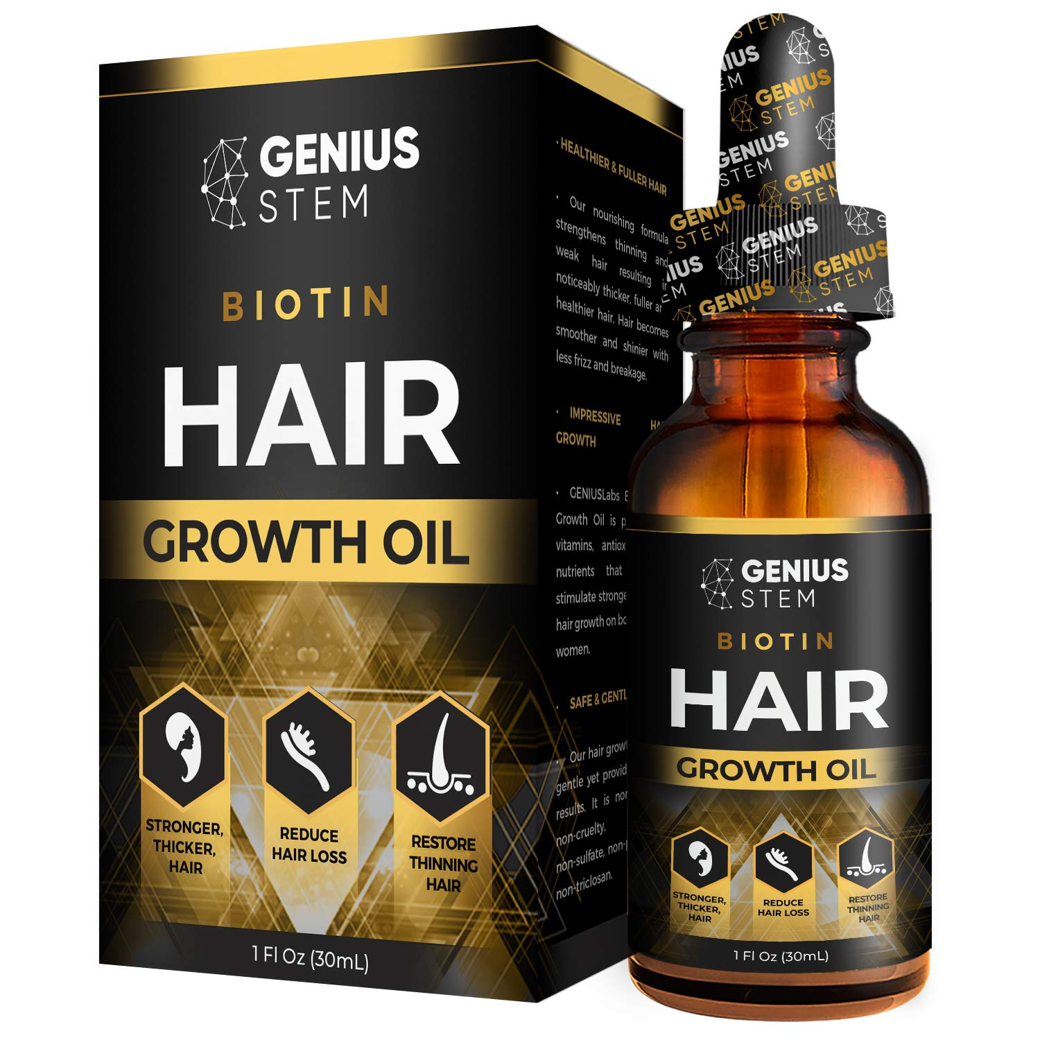 GENIUS Hair Growth Oil, PREMIUM Hair Growth Serum, for Stronger, Thicker, Longer Hair, Hair Growth Treatment for Women Men With Thinning Hair Loss Serum 1fl oz