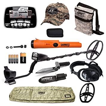 Garrett AT Pro Detector de metales con Special Pro Pointer AT PinPointer, bolsa, funda, gorro, y el daño cuchillo: Amazon.es: Jardín