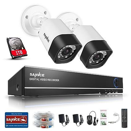 SANNCE Kits de seguridad sistema de 2 cámaras de vigilancia(Onvif H.264 4CH