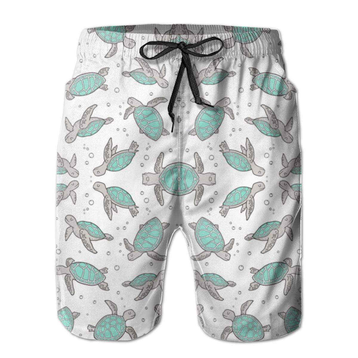 Boardshort Sea Turtles Nautical Boys Teen Quick Dry Sports Trunks