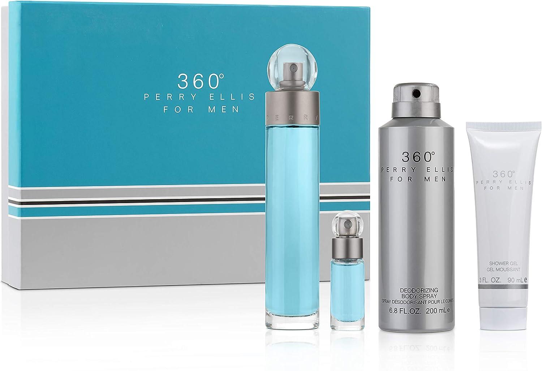 perry ellis 360 by Perry Ellis Gift Set 3.4 oz Eau De Toilette Spray + .25 oz Mini EDT Spray + 6.8 oz Body Spray + 3 oz Shower Gel (Men)