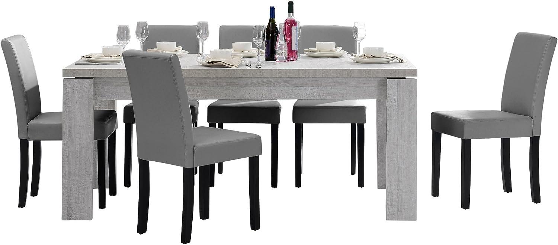 en.casa] Tavolo da pranzo e set di sedie 'Helsinki' (bianco