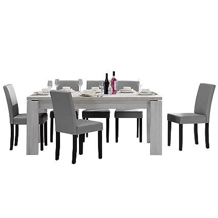 [en.casa]®] Set de Comedor Mesa Helsinki (Blanca - 170 x 79 cm) 6 sillas (tapizadas - Gris Claro) - Set Ahorro