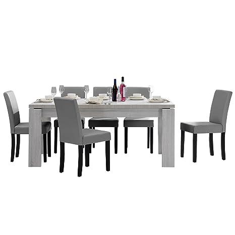 Tavolo Bianco E Sedie Grigie.En Casa Tavolo Da Pranzo E Set Di Sedie Helsinki Bianco