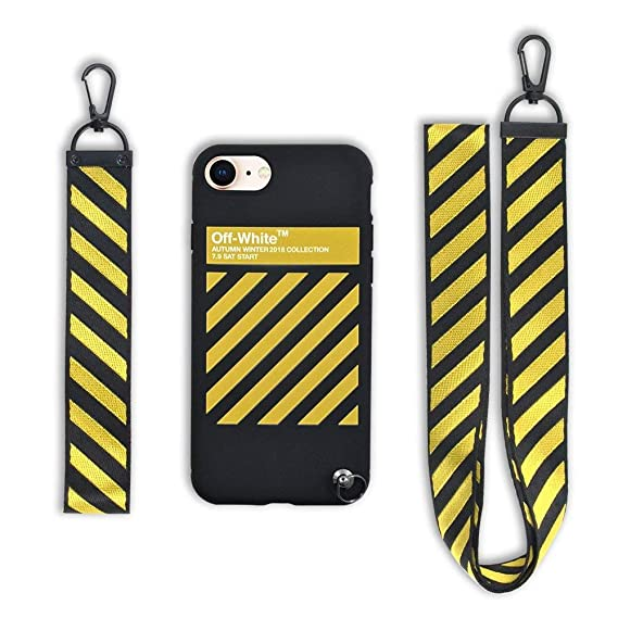new concept b8fc8 f3898 Keklle Design x Street Fashion - Slim Flexible TPU Durable Protective Case  with Designer Lanyard for iPhone case (iPhone 7 & 8 Yellow)