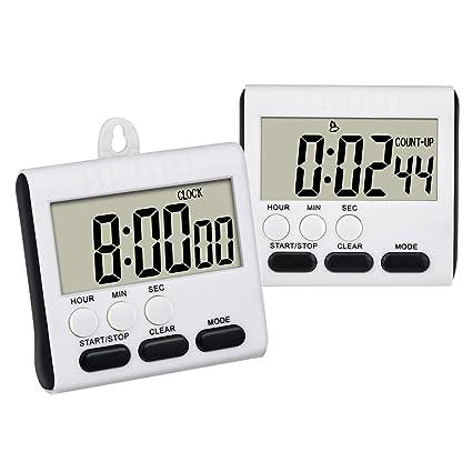 3c3db6d7ff99e8 Mudder 2 Pezzi Timer da Cucina Magnetico Digitale Cronometro Contaminuti 24  Ore Orologio Rumoroso Allarme con Grandi Cifre e Stand (Bianco-Nero):  Amazon.it: ...