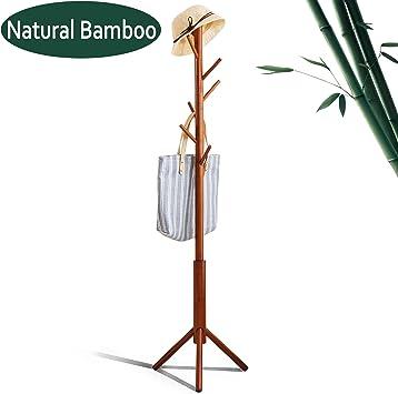 Amazon.com: FILWH - Perchero de madera de bambú con 8 ...