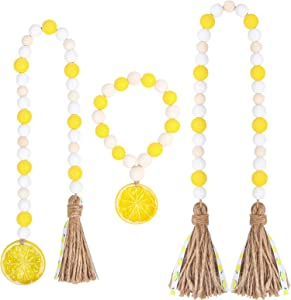 RUIRUICO 3 Pieces Lemon Wood Bead Garland with Tassels, Spring and Summer Beads Garland, Lemonade Accents Themed House Decor, Farmhouse Decor for Tiered Tray, Table, Wall