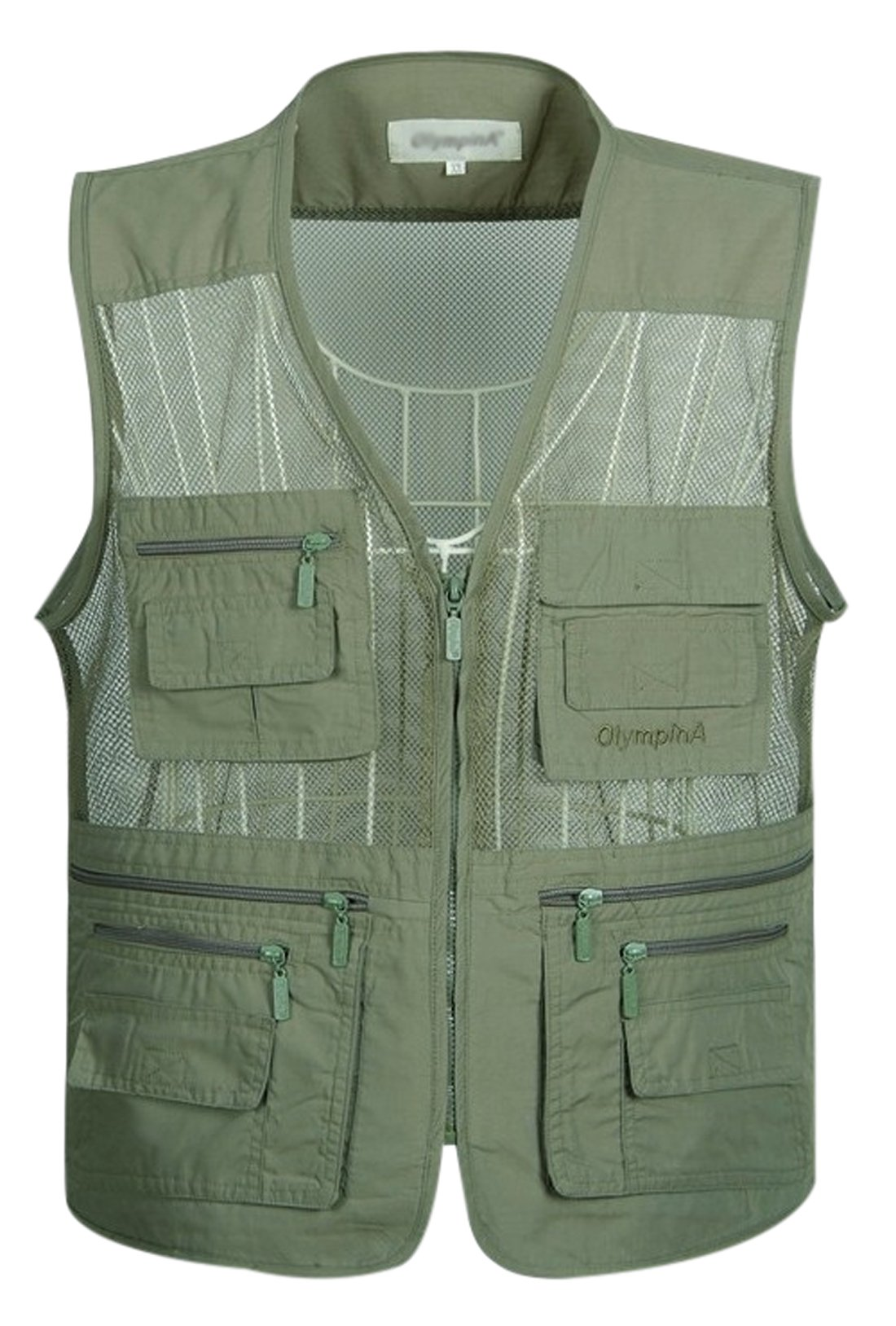Gihuo Men's Outdoor Leisure Lightweight Quick-Dry Pockets Fishing Photo Journalist Vest Plus Size (X-L, Army Green)
