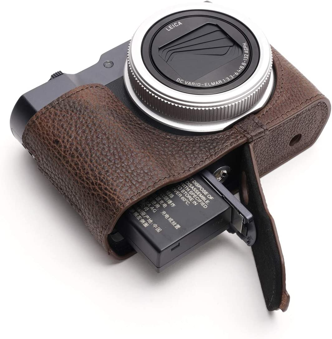 Hand Strap Coffee BolinUS Handmade Genuine Real Leather Half Camera Case Bag Cover for Leica C-Lux Camera Bottom Opening Version Leica C-Lux Camera Case