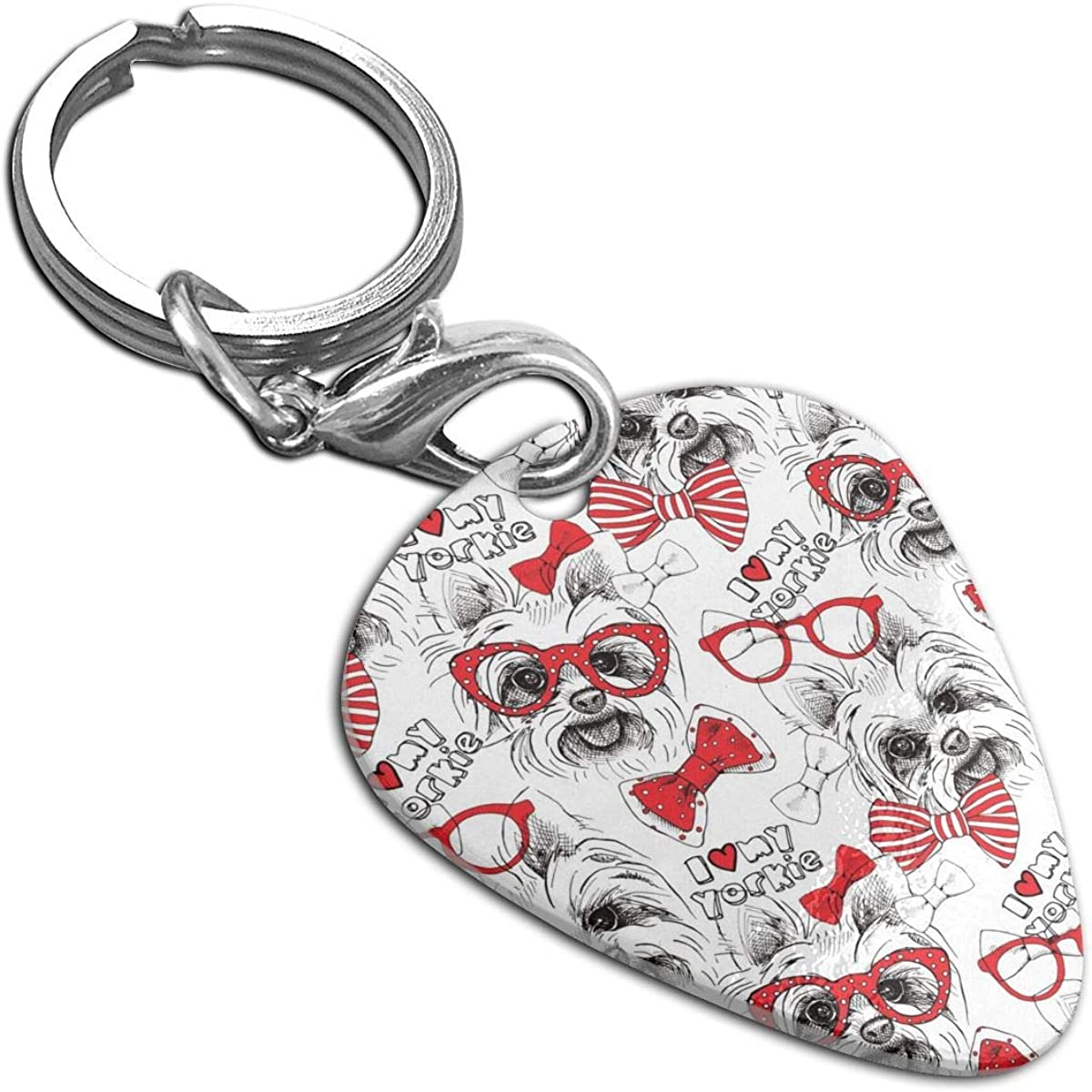 A Dog York Bows Glasses Tie Custom Guitar Pick Pendant Necklace Keychain