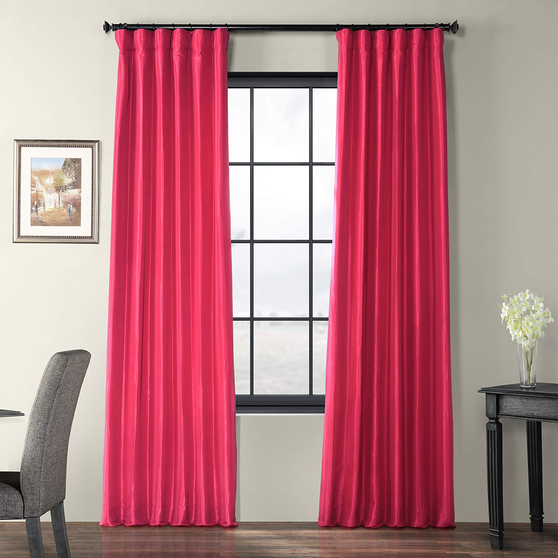 Fuchsia pink 50 x 108 PTCH-JTSP429-108 Faux Silk Taffeta Curtain, Winter Ice, 50  x 108