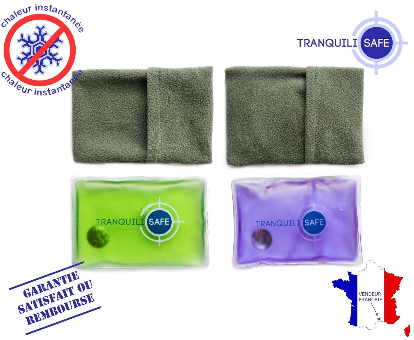 TRANQUILISAFE ® - Set de 2 calentadores de bolsillo- reutilizables y Prácticos - botella de agua caliente mágica 11 * 8 cm - calor Calentador de Manos Gel ...