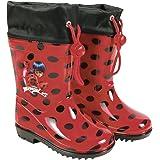 PERLETTI Botas de Agua Miraculous Ladybug - Botines Impermeables para Niña Lady Bug con Suela Antideslizante y Cierre con Cordón - Rojo y Lunares Negros