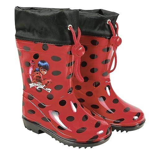 PERLETTI Botas de Agua Miraculous Ladybug - Botines Impermeables para Niña Lady Bug con Suela Antideslizante