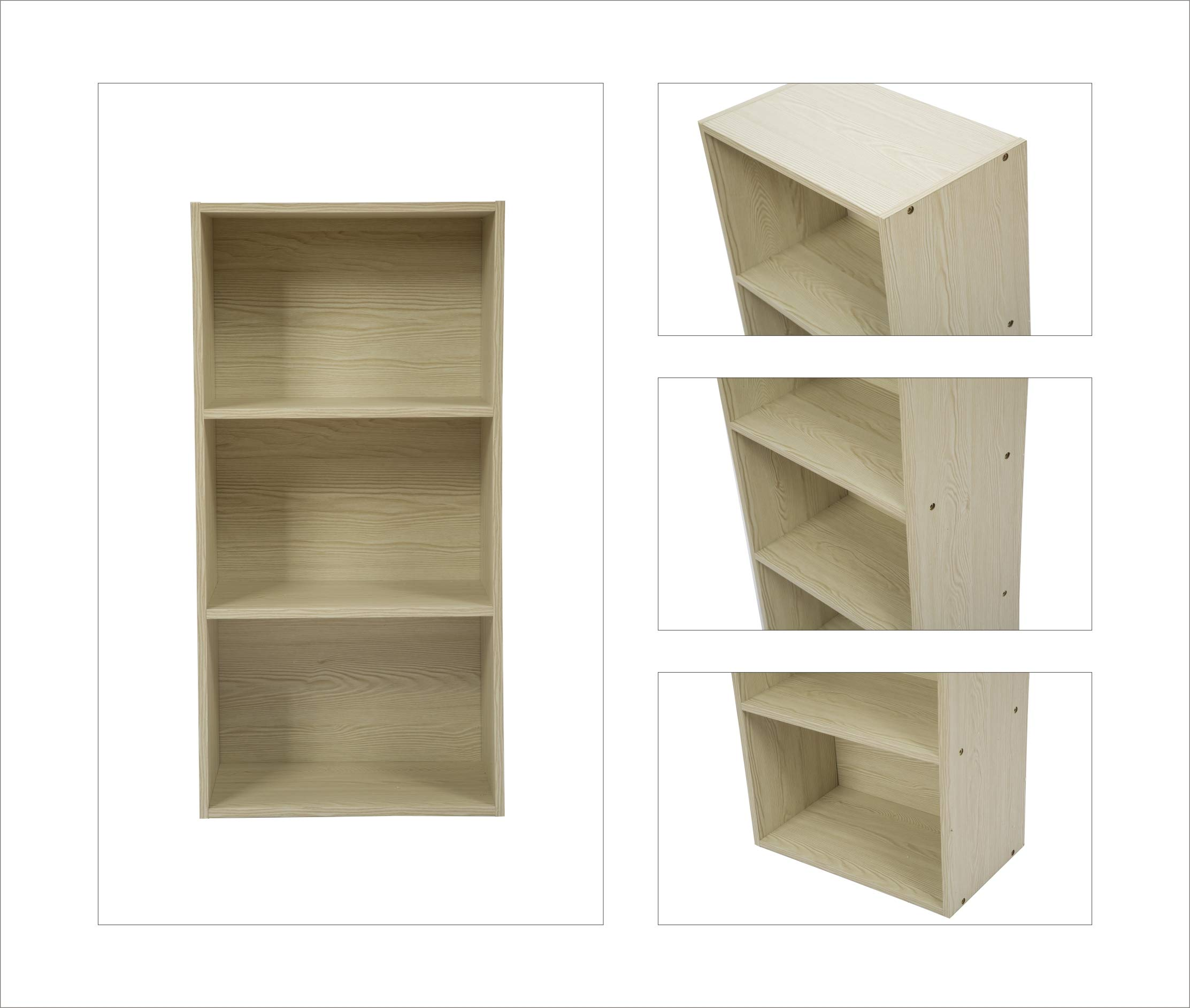 JEROAL 3-Shelf Wooden Bookshelf, 3 Cube Storage Organizer, Display Bookshelf Storage Organizer for Books, Pictures, Decorations, White Oak by JEROAL (Image #7)