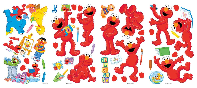 Elmo wall decals roommates elmo peel stick wall for Elmo wall mural