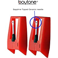 Boytone Pack of 2, Sapphire Tipped Ceramic Replacement Needle for Turntables