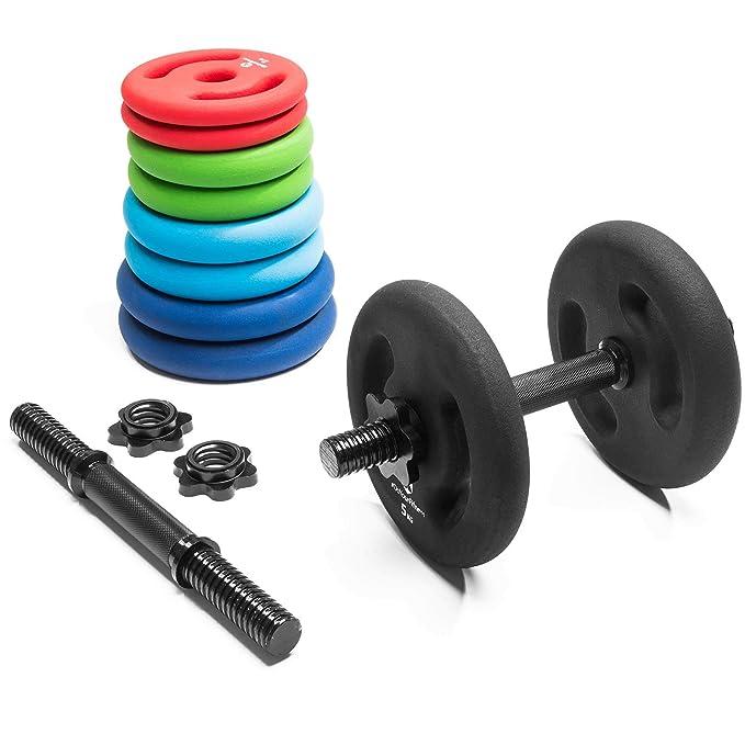 4x pesas de hierro fundido 100% de 1 kg 2 kg 3 kg 4 kg 5 kg / cada peso tiene su color distintivo. Orificio de 30 / 31 mm con revestimiento ...
