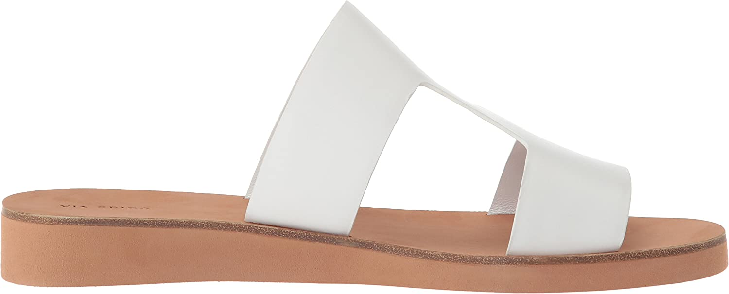 Via Spiga Blanka Flat Sandal, Plate Femme Porcelain Leather