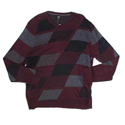 Alfani Men's Abstract Colorblocked Pullover Sweater, Port Heather, XXL at Men's Clothing store