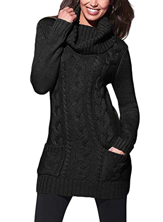fb554ed9564 BLENCOT Womens Winter Pullover Sweaters Cowl Neck Ribbed Cable Knit Long  Sweaters Dresses Jumper Fashion 2018