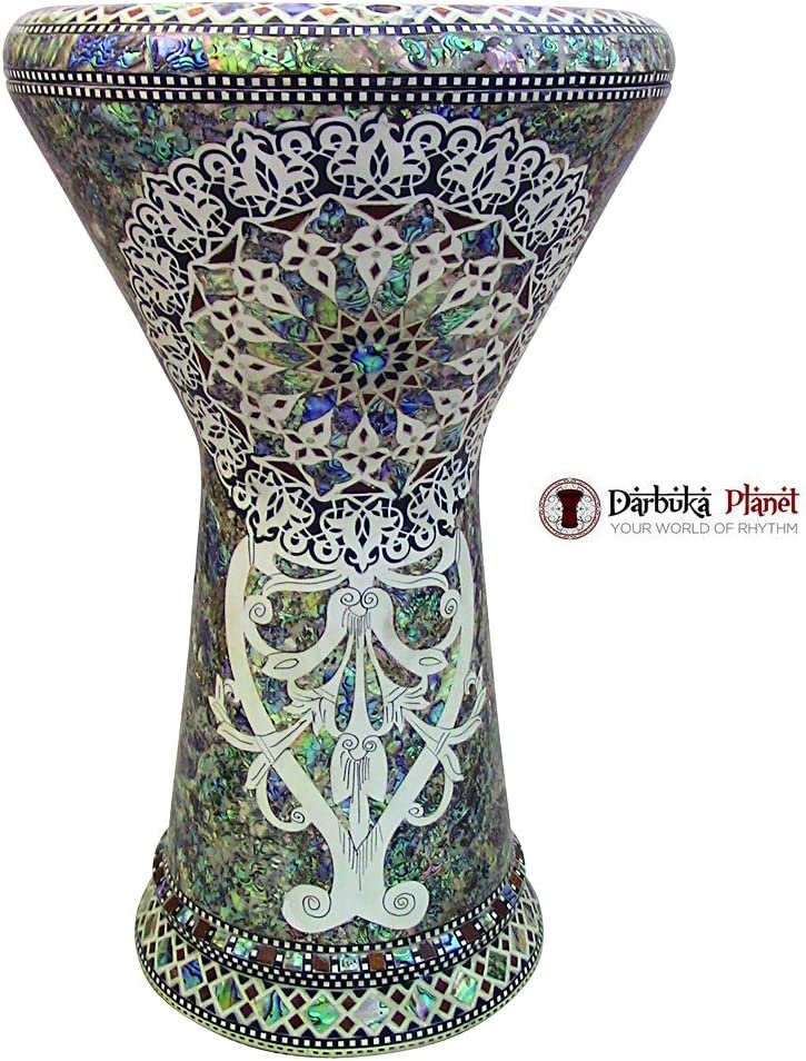 TheWhite Sun Gawharet El Fan 18.5 Darbuka Doumbek Drum Sombaty Size With Real Blue Mother of Pearl