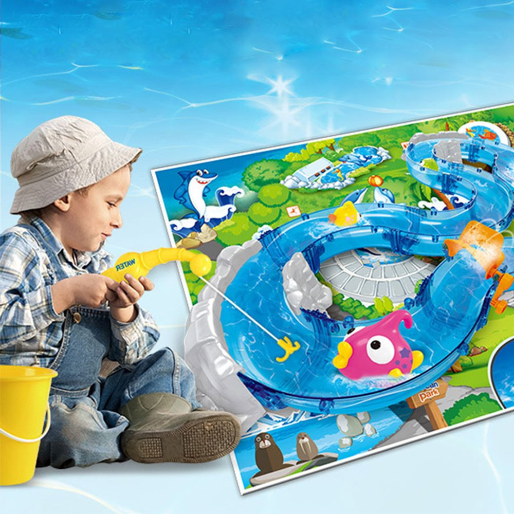 Umiwe Mountain Lake Kids Waterplay Go Fishing Toy Game Race Track Set with Two Fishing Rods and Play Mat for Summer Beach Sandpit Sand Garden Outdoors Fun by Umiwe (Image #6)