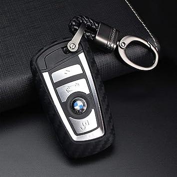 YIKA Carbon Fiber Style Black Carbon Fiber Texture Car Key Case Cover Holder Pouch Remote Key Chains Key Bag Fit for BMW keyless Remote Control Smart Key Fob Holder 1//2//3//4//5//6//M//X Series X3 X